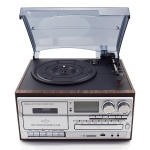 Multifunction 7-in-1 Turntable player AM/FM Radio CD Player USB & Cassette Recorder Aux-in RCA Line-out bluetooth